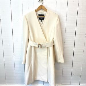 J. Crew Doublecloth Collarless Tie Trench Coat